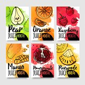 Template design card of variation tastes of juice. Layout banner of fruit and berries with watercolor decoration. Brochure for organic natural drink. Flyers of fresh food for vegetarian menu. Vector.