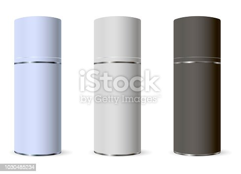 Template design cosmetics product mat metal spray bottles. Mockup for ads, advertising, branding, print, cover. Fashion 3d vector illustration.