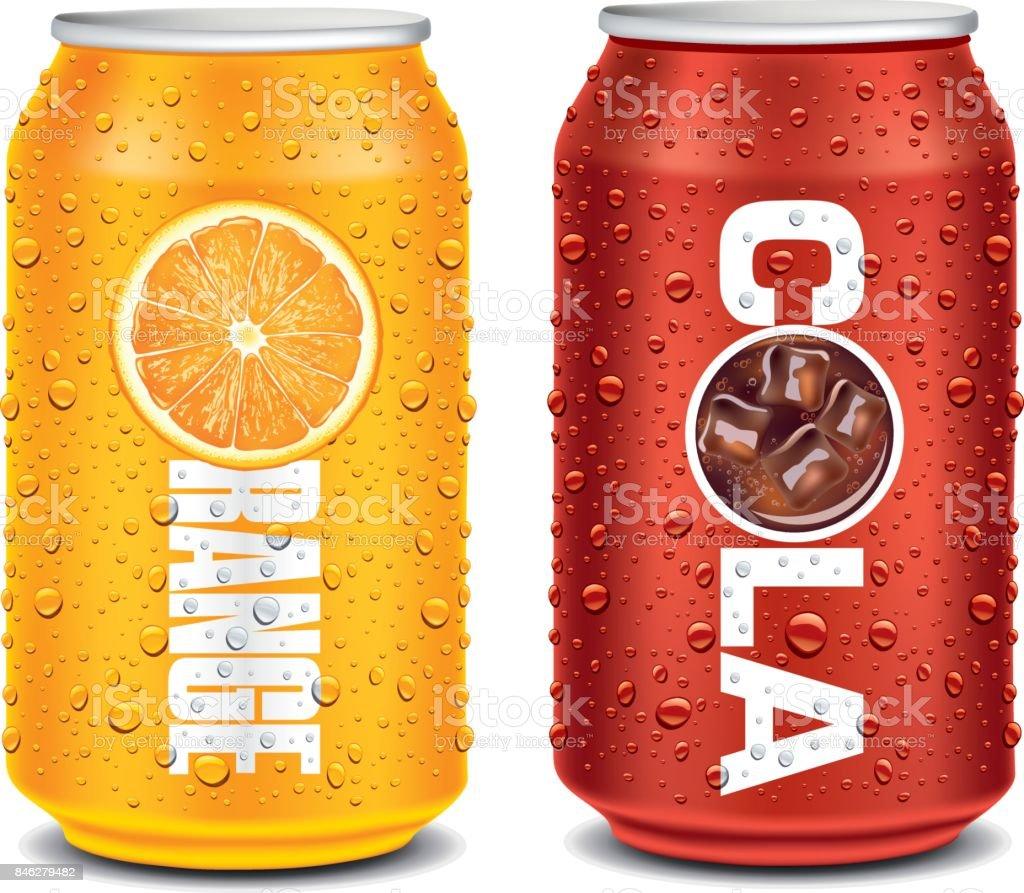 sjabloonontwerp voor Oranje, cola aluminium kanvectorkunst illustratie