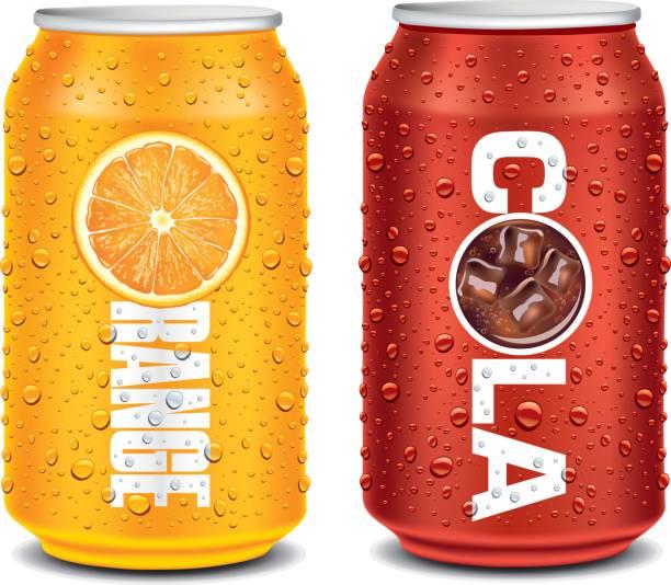 stockillustraties, clipart, cartoons en iconen met sjabloonontwerp voor oranje, cola aluminium kan - cola
