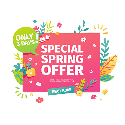 Template design horizontal web banner for spring offer. Advertising poster with a decoration of flowers and leaves frame. Badge for the spring sale in a flat style.  Vector