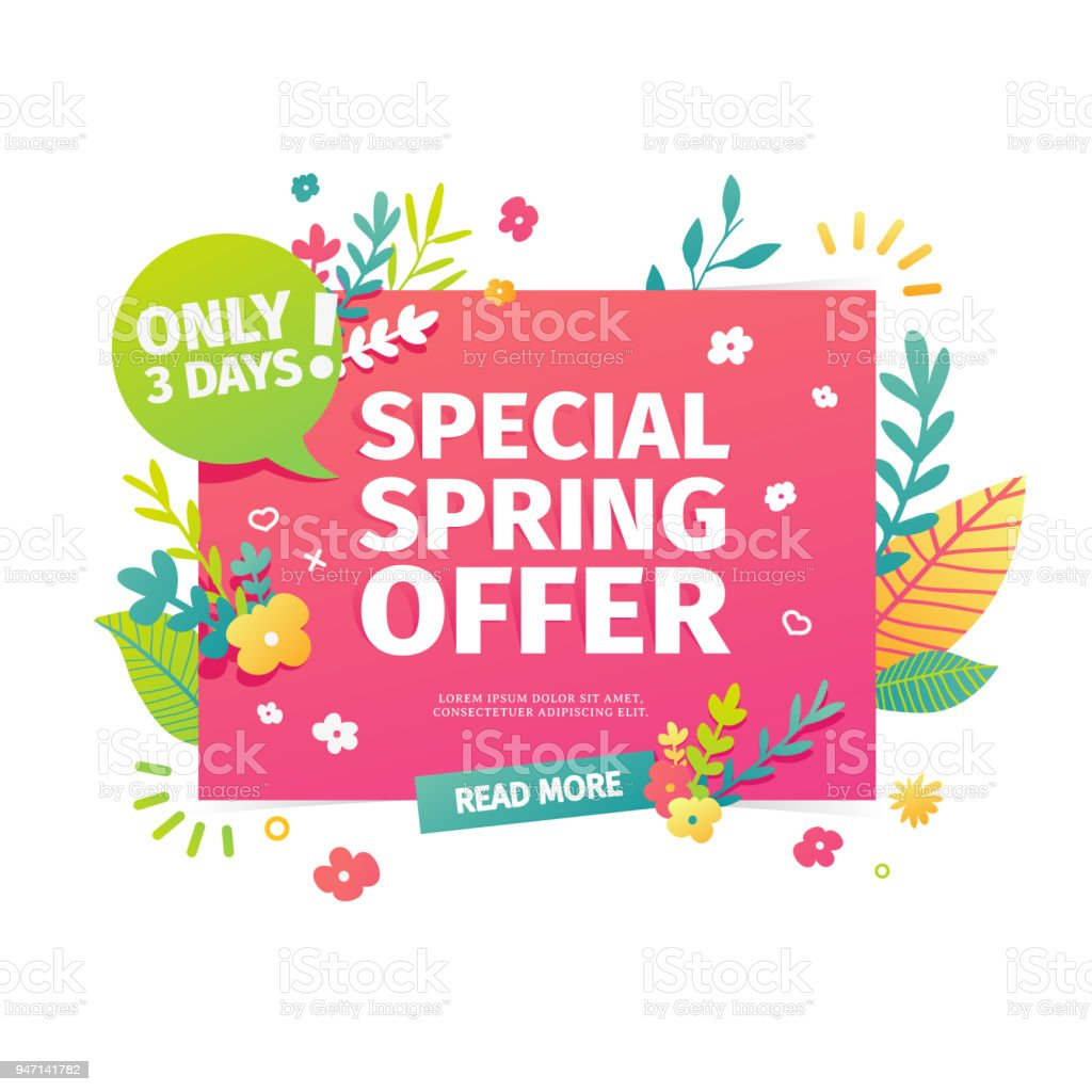 Template design horizontal web banner for spring offer. Advertising poster with a decoration of flowers and leaves frame. Badge for the spring sale in a flat style.  Vector vector art illustration