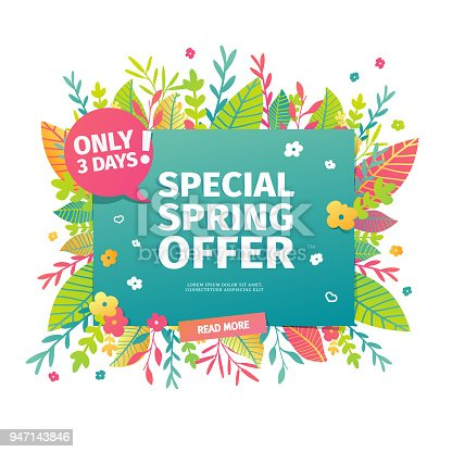 Template design horizontal web banner for spring offer. Advertising poster with a decor of flowers and leaves frame. Badge for the spring sale in a flat style.  Vector