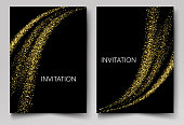 Template design invitations Gold particles in the form of abstract waves glisten on a black background