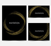 Template design invitations,greeting cards,greetings.Gold smooth wave in the form of a circle,gold glitters on a black background.