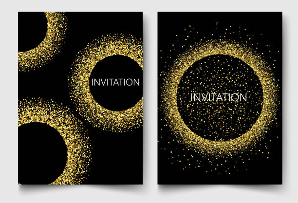 Template design invitations,greeting cards,greetings.Gold glitters on a black background vector art illustration