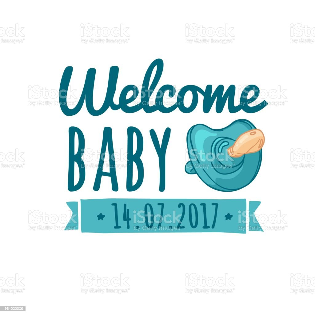 Template Design Of Baby Shower Design Stickers For Childrens ...