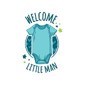 """Template design of baby shower design. Stickers for children's birthday party. """"Welcome baby"""" signs. Cartoon girl and boy newborn invitation and card. Vector"""