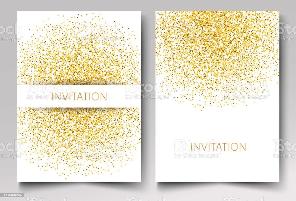 template design of invitation gold glitter confetti on