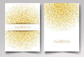 Template design of invitation gold glitter confetti on white background Vector eps10