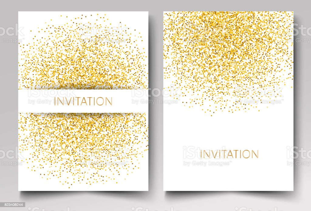 Template design of invitation gold glitter confetti on white background Vector eps10 vector art illustration