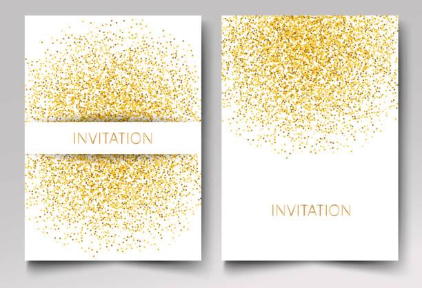 Template-Design von Einladung gold-Glitter Konfetti auf weißem Hintergrund Vektor eps10 – Vektorgrafik