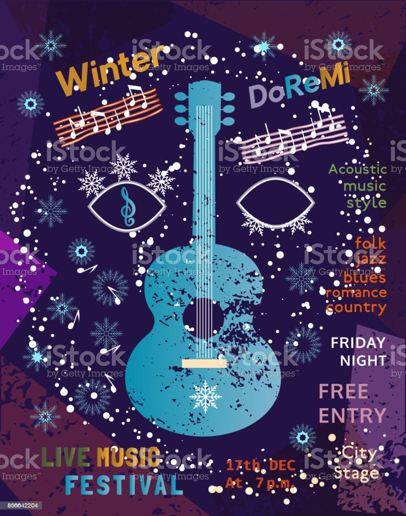 template design poster acoustic music festival stock vector art