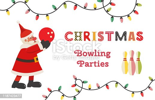 Template Design Poster Christmas celebration vector. Bowling holiday x-mas party holiday festive advertisement invitation background. Cute Santa bowl, pin cartoon. Holiday welcome vector illustration