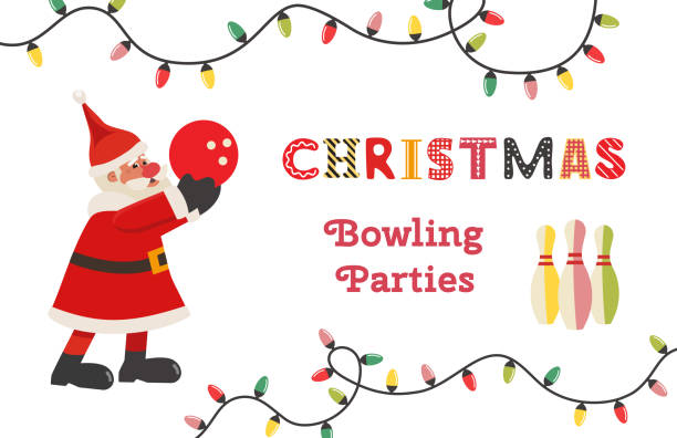 template design poster christmas bowling vector - christmas lights stock illustrations