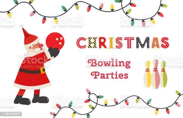 템플릿 디자인 포스터 크리스마스 볼링 벡터 간판에 대한 스톡 벡터 아트 및 기타 이미지