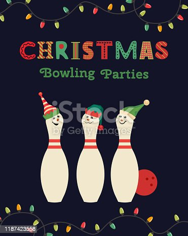 Template Design Poster Christmas celebration vector. Bowling holiday x-mas party holiday festive advertisement invitation background. Cute pin in elf hat cartoon. Holiday welcome vector illustration