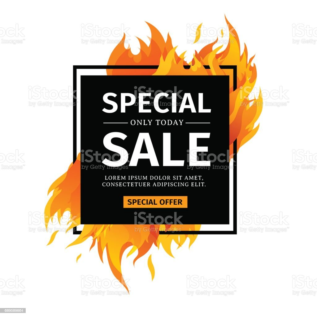 Template design square banner with Special sale. Black card for hot offer with frame fire graphic. Advertising poster layout with flame border on white background. Vector. vector art illustration