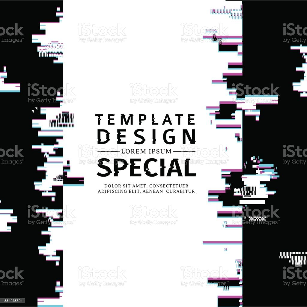 Template Design Vertical Banner Glitch Style Vector Distorted