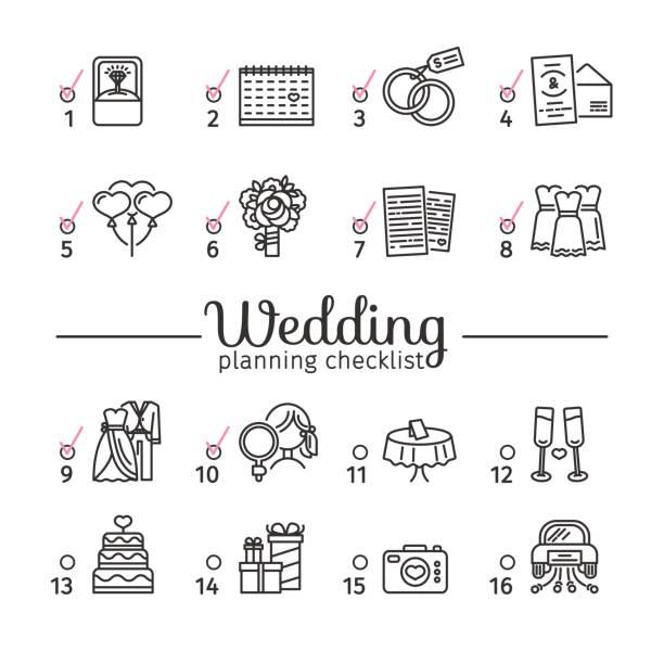 Checkliste Hochzeitsblumen Vektorgrafiken Und Illustrationen Istock