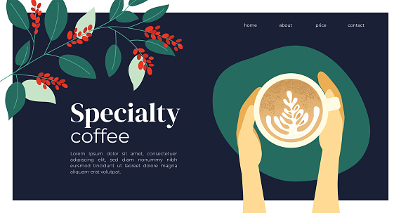 Template design with cappuccino and coffee plant
