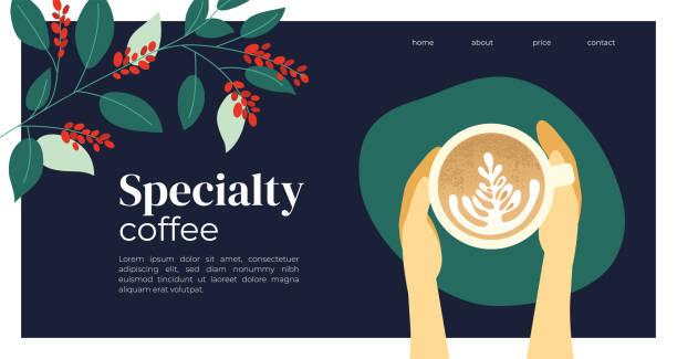 ilustrações, clipart, desenhos animados e ícones de projeto do molde com cappuccino e planta de café - café