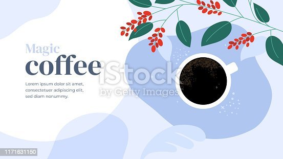 Vector illustration of magic morning with cup of fresh coffee. Black espresso. Branches of coffee tree with leaves and berry. Template for cafeteria, banner, landing page, website, blog, prints, flyer