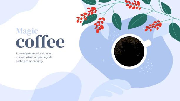 Template design with magic coffee – artystyczna grafika wektorowa