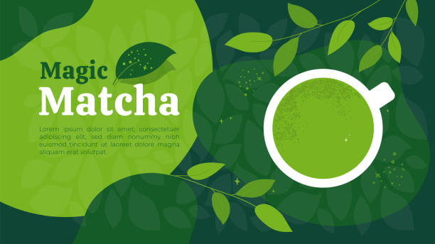 魔法の緑茶抹茶とテンプレートデザイン - 抹茶点のイラスト素材/クリップアート素材/マンガ素材/アイコン素材