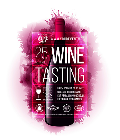 Template design with wine stains in the background and wine bottle illustration. Sample text for layout.