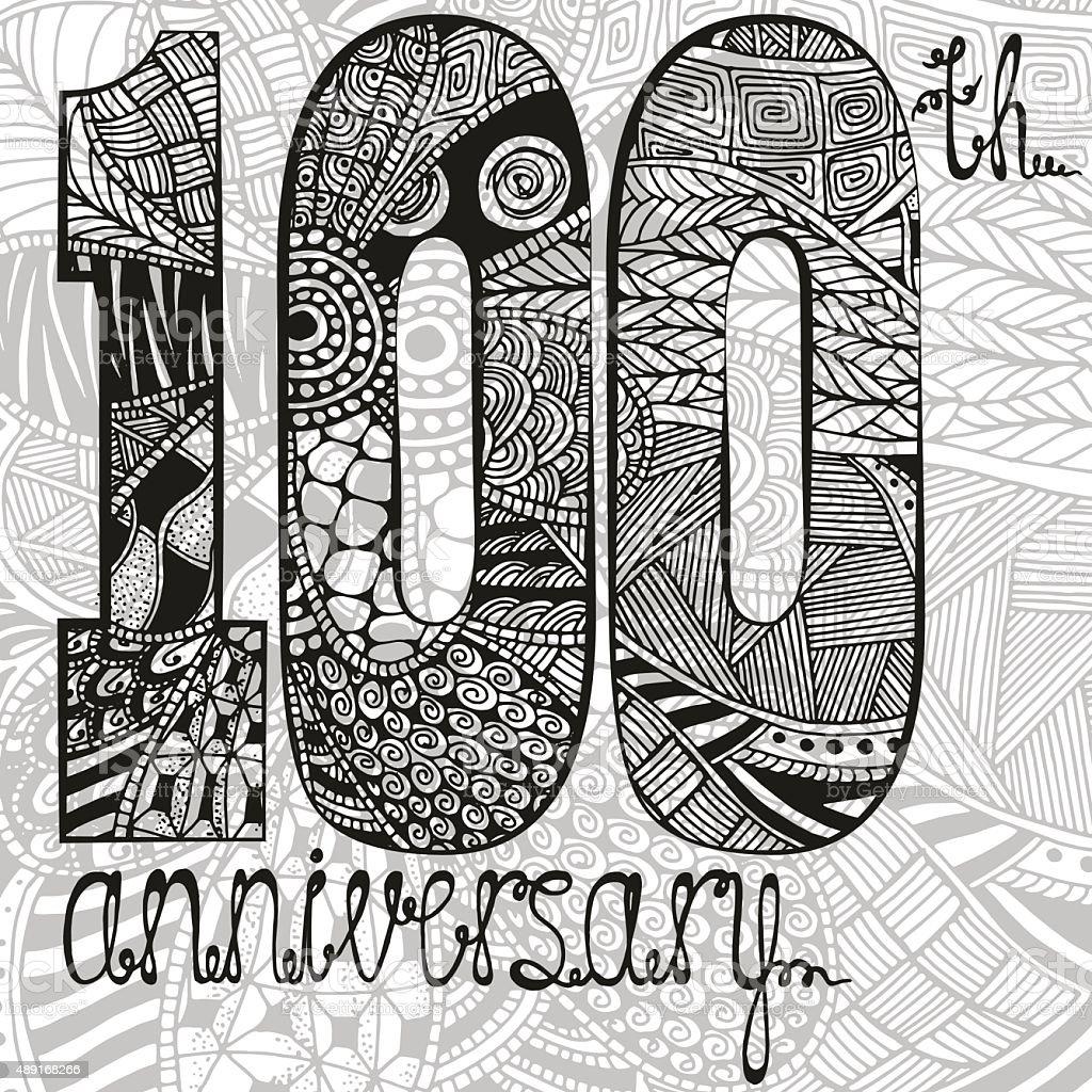 Vorlage Emblem 100 Geburtstag Mit Zentangle Muster Stock Vektor Art ...