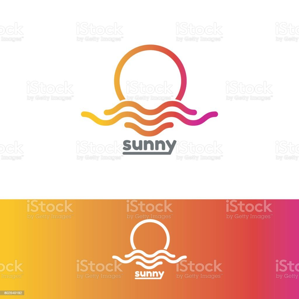 Template emblem for sunny. Colorful sun and sea emblem vector art illustration