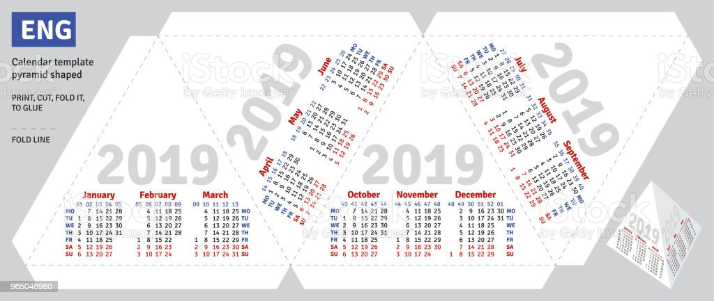 Template english calendar 2019 pyramid shaped royalty-free template english calendar 2019 pyramid shaped stock vector art & more images of advertisement