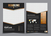 Template flyer black with golden arrows. Design 2 page brochure