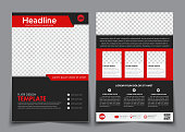 Template flyer black with red elements for printing. Template 2 page brochure with space for photos, information blocks, texts and QR code. Vector illustration