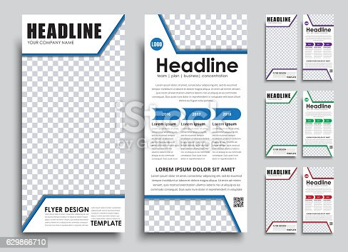 template flyer size of 210x99 mm qrコードのベクターアート素材や