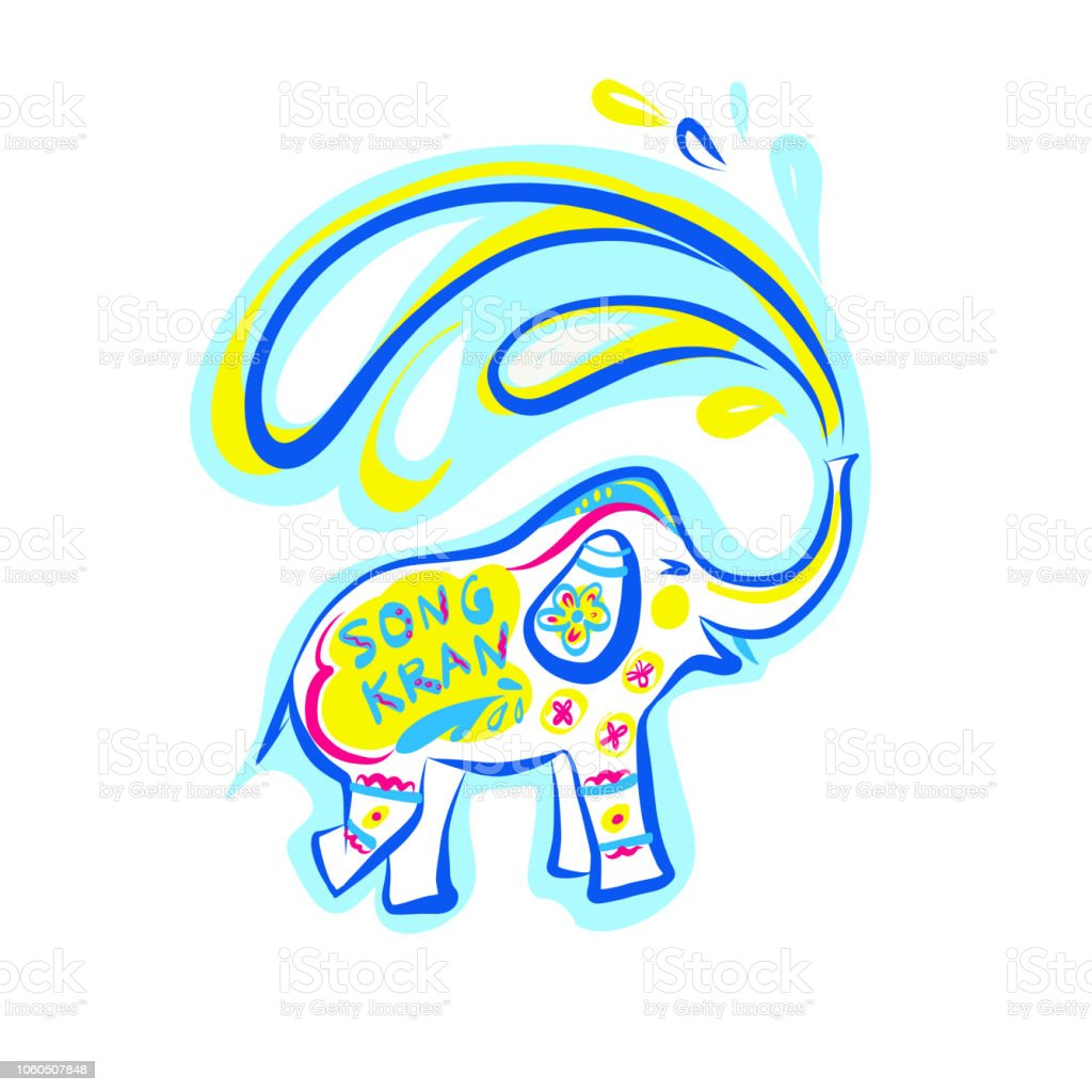 Vorlage Flyer traditionelle thai Neujahr. Festival glücklich Songkran in Thailand. Skizzieren Sie bunte Farben-Logo. Freihändig gezeichnete Element Design für Banner, Poster für Spaß Lächeln Partei. Vektor-Illustration. – Vektorgrafik