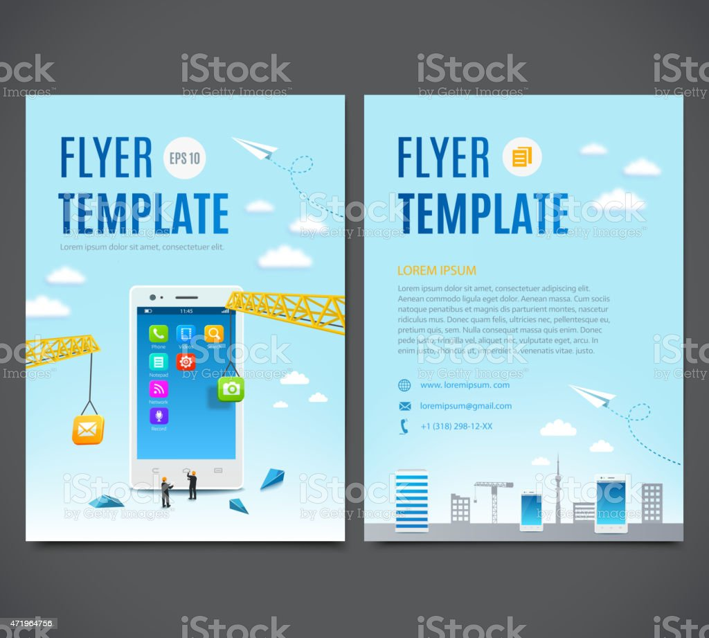 Template Flyers Construction White Smartphone Software And Mobile