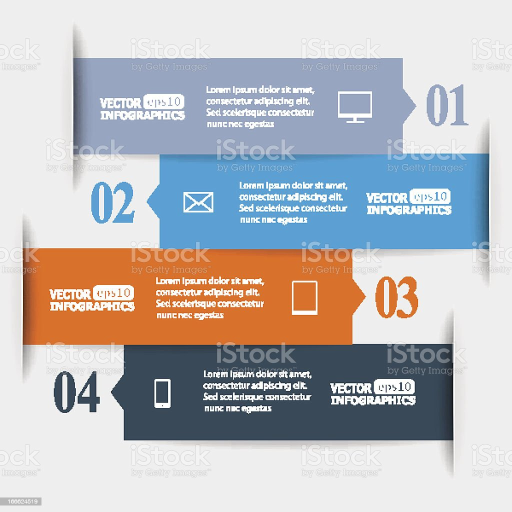 Template for a 4 part infographic using abstract tabs royalty-free stock vector art