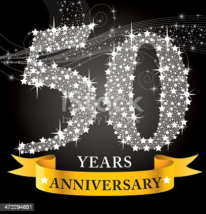 A vector illustration to show 50th Anniversary in black background