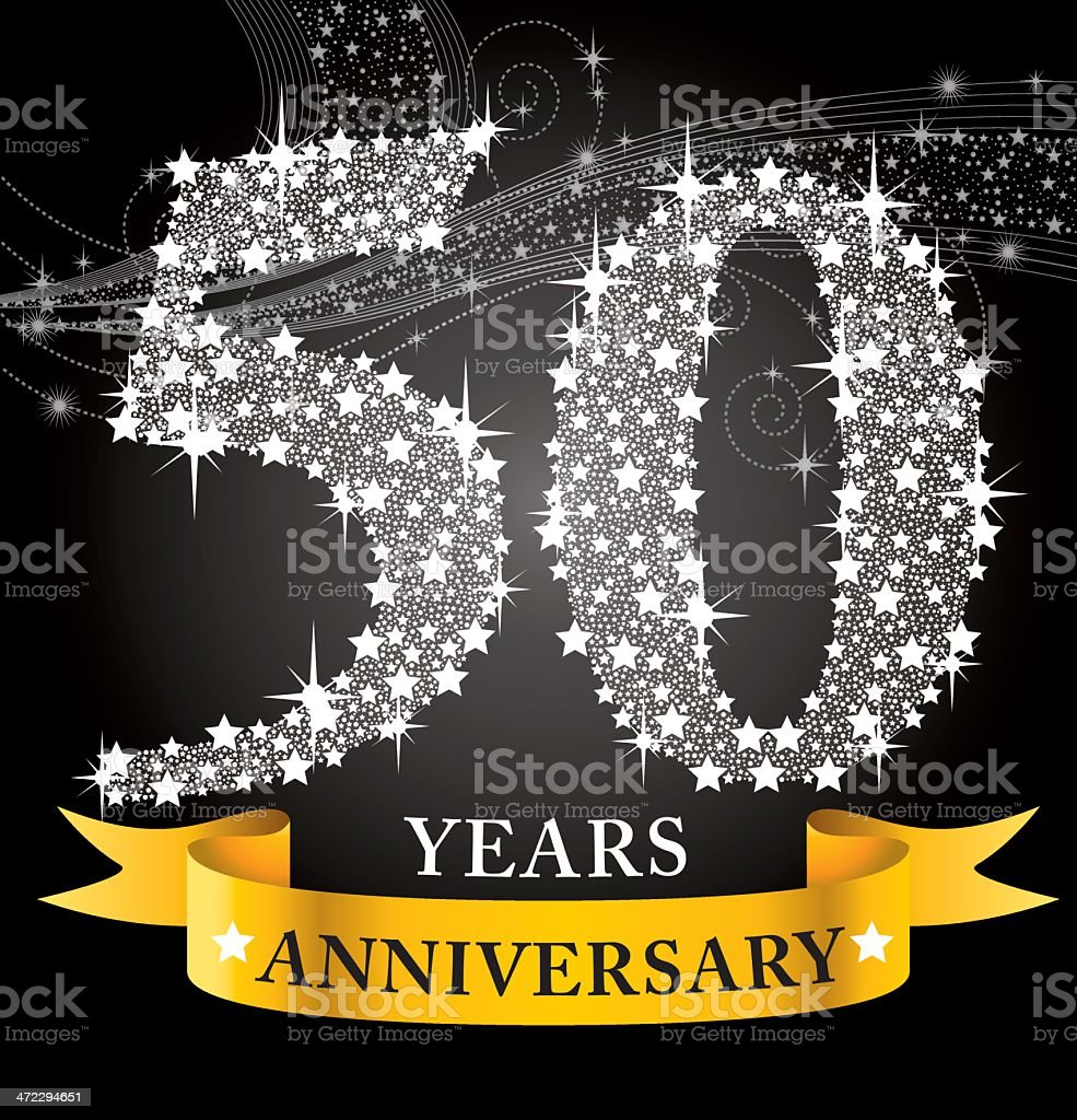 Template for a 50th anniversary, covered in white stars vector art illustration