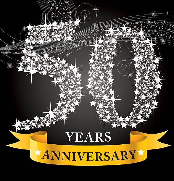 bildbanksillustrationer, clip art samt tecknat material och ikoner med template for a 50th anniversary, covered in white stars - 50 54 år