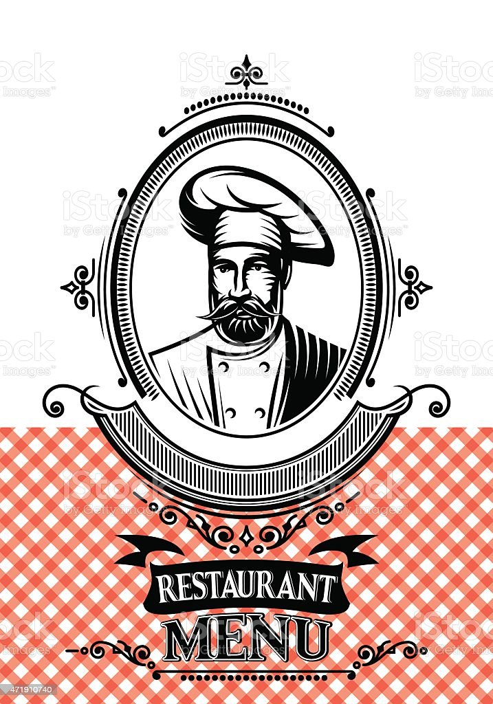 template for a restaurant menu with the chef and cloth vector art illustration