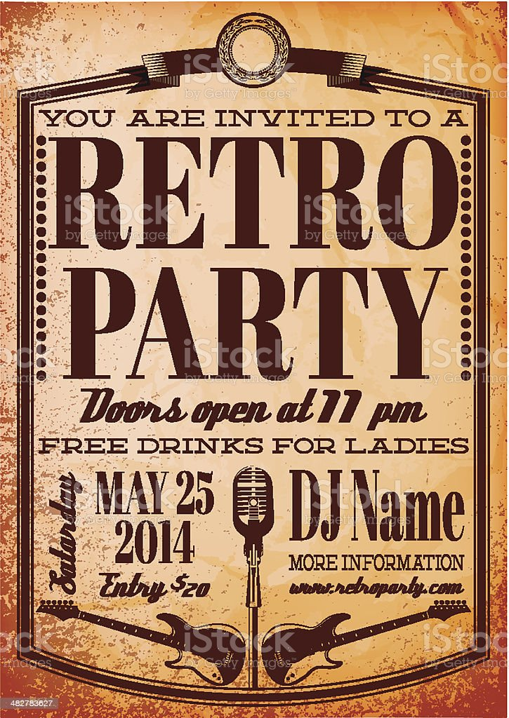 template for a retro party, concert, events vector art illustration