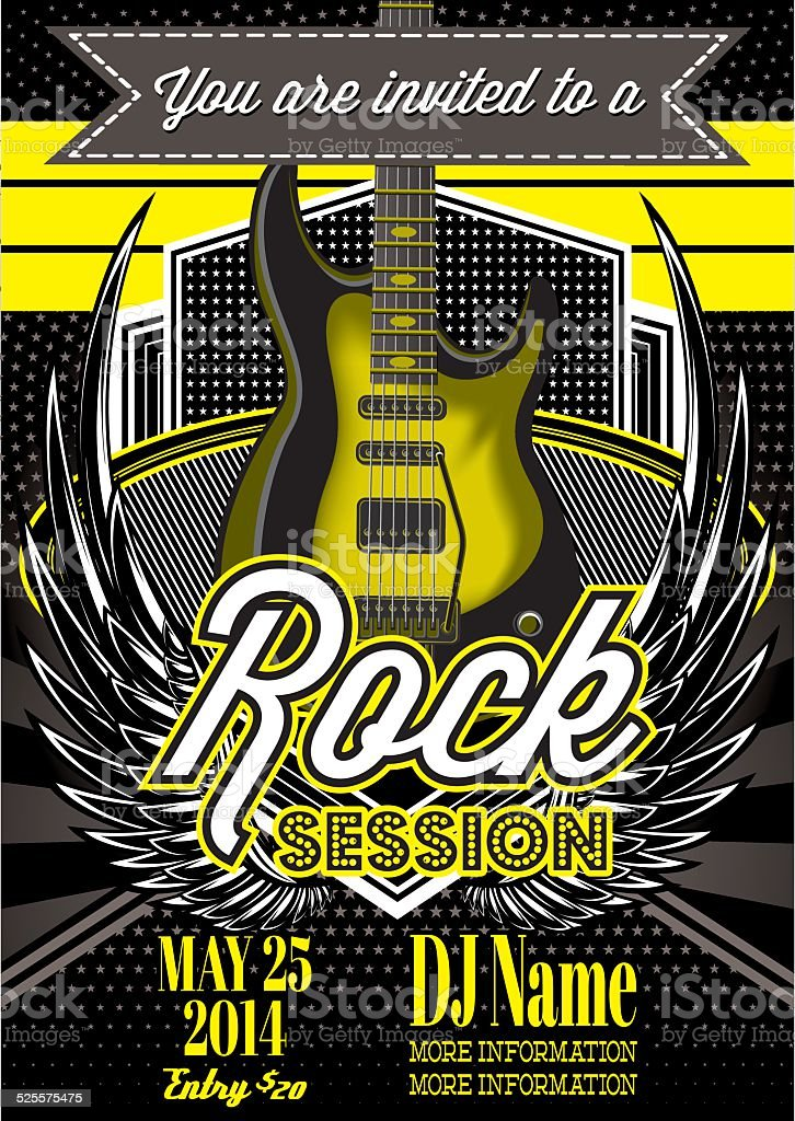 template for a rock concert with guitar vector art illustration