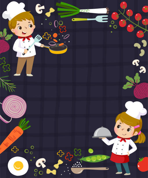 Template for advertising background in cooking concept with two kid chefs. Template for advertising background in cooking concept with two kid chefs. cooking borders stock illustrations