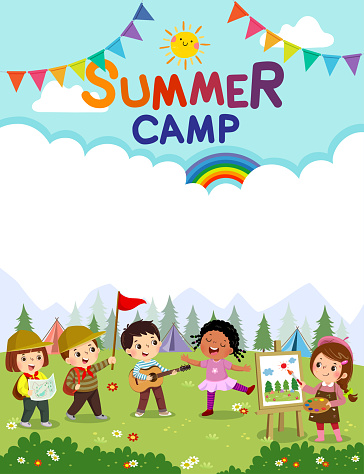 Template for advertising brochure with cartoon of children doing activities on camping. Kids summer camp poster.