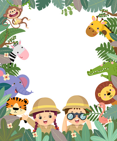 Template for advertising brochure with cartoon of girl and boy holding binoculars in safari clothes with animals in tropical leaves