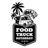 Template for advertising in retro style on a food festival theme with food track, palm trees and water wave. Vector monochrome illustration.