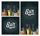 Horizontal and vertical template for Bar menu alcohol drink with calligraphic handwriting lettering. Bottle and glass gin, vodka, tequila, wine, whiskey, rum. Vintage color vector engraving on dark